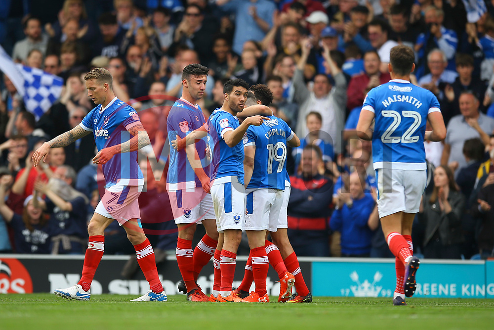 Portsmouth celebrate going 1-0 against Cheltenham Town - Mandatory by-line: Jason Brown/JMP - 06/05/2017 - FOOTBALL - Fratton Park - Portsmouth, England - Portsmouth v Cheltenham Town - Sky Bet League Two