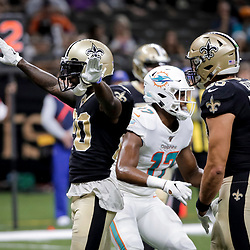 Aug 29, 2019; New Orleans, LA, USA; New Orleans Saints cornerback Ken Crawley (20) reacts after breaking up a pass against the Miami Dolphins during a preseason game at the Mercedes-Benz Superdome. Mandatory Credit: Derick E. Hingle-USA TODAY Sports