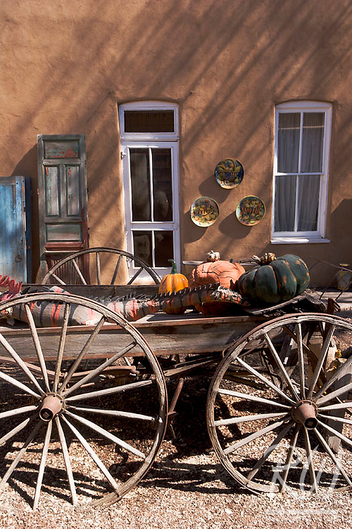 Wagon and Colored Windows at the Plaza, Santa Fe, New Mexico
