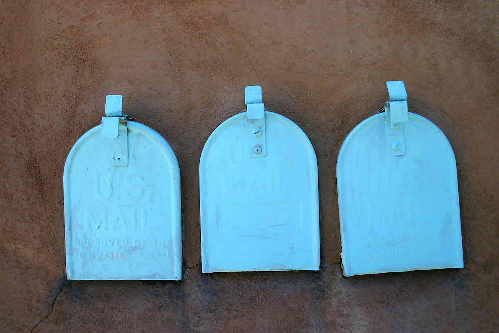Turquoise painted mail boxes Santa Fe New Mexico