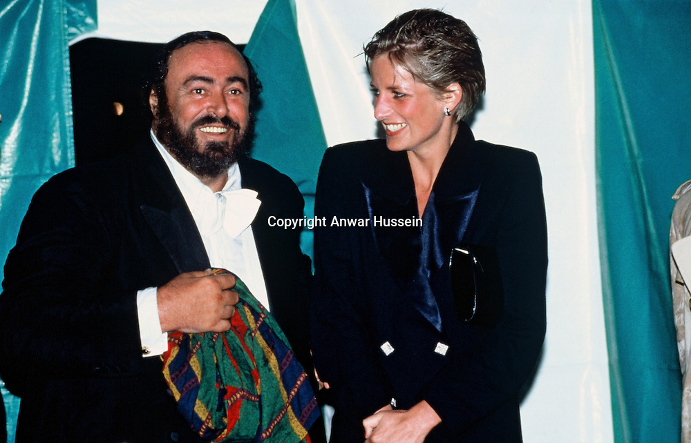 Diana, Princess of Wales and Pavarotti at Hyde Park Concert on July 30, 1991 in London