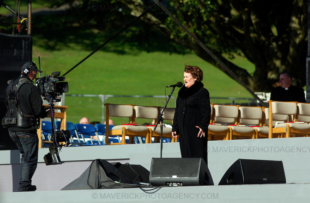 GLASGOW, UK - 16th September 2010: Pope Benedict XVI holds an open air mass at Bellahouston Park in Glasgow on the first day of his four day state visit to the UK...Picture shows Britain's Got Talent star Susan Boyle performs for the crowd ahead of the arrival of Pope Benedict XVI at Bellahouston Park...(Photograph: Richard Scott/MAVERICK)