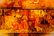 This section of the huge &quot;Transport and Human Endeavor&quot; mural on the ceiling of the Chrylser Building's main lobby depicts scenes of heroic industrialism and early 20th Century transportation including aircraft of the period.<br /> <br /> Some of the construction scenes are said to depict the construction of the Chrysler building itself.<br /> <br /> The canvas mural was painted by Edward Trumbull in 1929, but was given a polyurethane coating in 1970 that darkened it and made it hard to see until a costly restoration in 1999.