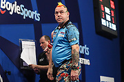 Peter Wright during the Grand Slam of Darts, at Aldersley Leisure Village, Wolverhampton, United Kingdom on 17 November 2019.