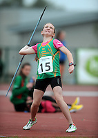 21 Aug 2016: Niamh Carolan, from Leitrim, during the U14 Javelin final.  2016 Community Games National Festival 2016.  Athlone Institute of Technology, Athlone, Co. Westmeath. Picture: Caroline Quinn