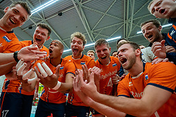 09-06-2019 NED: Golden League Netherlands - Spain, Koog aan de Zaan<br /> Fourth match poule B - The Dutch beat Spain again in five sets in the European Golden League / /ne<br /> 16/, Nimir Abdelaziz #14 of Netherlands, Michael Parkinson #17 of Netherlands, Wessel Keemink #2 of Netherlands, Thijs Ter Horst #4 of Netherlands, Gijs Jorna #7 of Netherlands