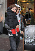 03.JANUARY.2013. LIVERPOOL<br /> <br /> LUIS SUAREZ WITH PARTNER SOFIA AND DAUGHTER DELFINA LEAVING SAN CARLO RESTAURANT IN LIVERPOOL AFTER A SPOT OF LUNCH.<br /> <br /> BYLINE: EDBIMAGEARCHIVE.CO.UK
