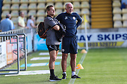 Forest Green Rovers manager, Mark Cooper and Torquay United manager Gary Owers during the Pre-Season Friendly match between Torquay United and Forest Green Rovers at Plainmoor, Torquay, England on 10 July 2018. Picture by Shane Healey.
