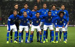 Brazil team group (left to right) Top row: Ederson, Pablo, Paulinho, Danilo, Marquinhos and Roberto Firmino. Bottom row: Neymar, Arthur, Allan, Alex Sandro and Willian