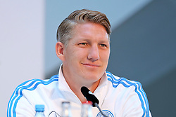 08.06.2015, Mercedes Benz Zenter, Koeln, GER, Nationalmannschaft, Pressekonferenz, im Bild Bastian Schweinsteiger (FC Bayern Muenchen) am Schmunzeln // during a press conference of the german national football team at the Mercedes Benz Zenter in Koeln, Germany on 2015/06/08. EXPA Pictures © 2015, PhotoCredit: EXPA/ Eibner-Pressefoto/ Schüler<br /> <br /> *****ATTENTION - OUT of GER*****