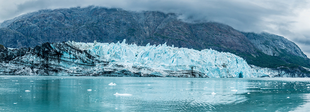 This is a five image stitch of Margerie Glacier on a cloudy day.  Darker days like this really pull out the blues.