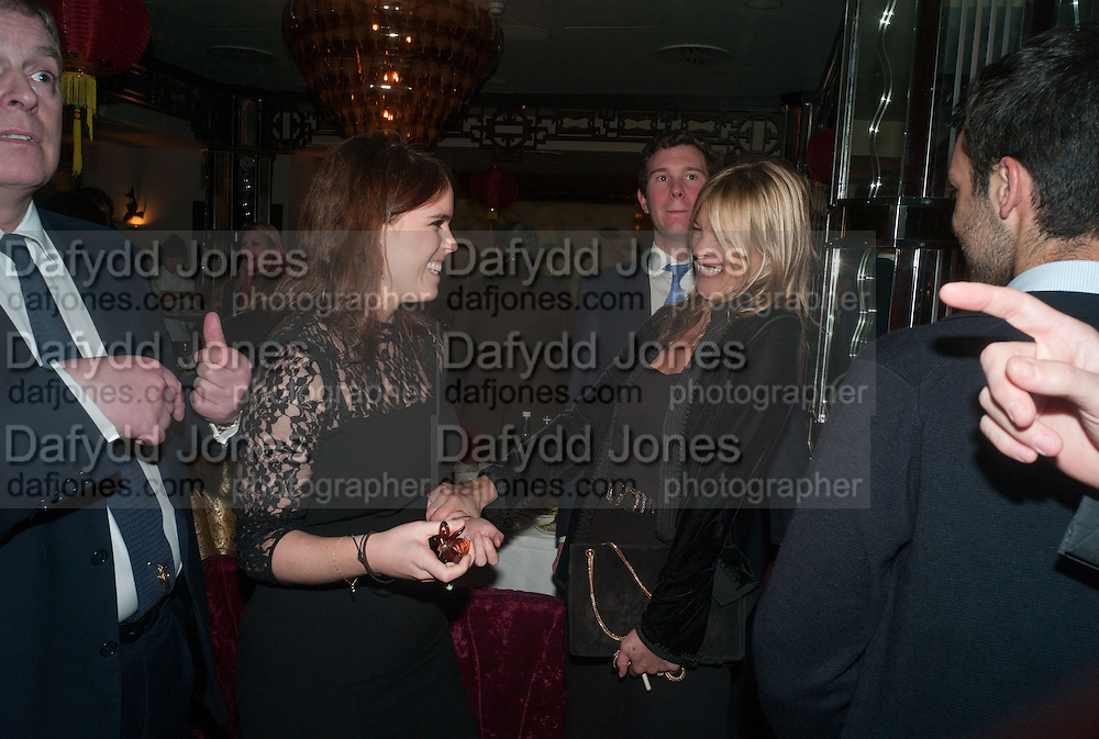 PRINCESS EUGENIE OF YORK; KATE MOSS, Chinese New Year dinner given by Sir David Tang. China Tang. Park Lane. London. 4 February 2013.