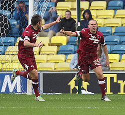 Derby County's Jake Buxton celebrates scores his sides first goal - Photo mandatory by-line: Robin White/JMP - Tel: Mobile: 07966 386802 14/09/2013 - SPORT - FOOTBALL -  The Den - London - Millwall V Derby County - Sky Bet League Championship
