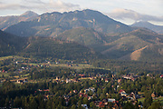 An aerial landscape that overlooks the Tatra mountains in the Polish town of Koscielisko, on 16th September 2019, near Zakopane, Malopolska, Poland.