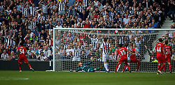 WEST BROMWICH, ENGLAND - Sunday, May 15, 2016: West Bromwich Albion hit the post and crossbar as Liverpool's goalkeeper Adam Bogdan is beaten during the final Premier League match of the season at the Hawthorns. (Pic by David Rawcliffe/Propaganda)