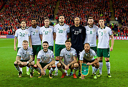 CARDIFF, WALES - Monday, October 9, 2017: Republic of Ireland players line up for a team group photograph before the 2018 FIFA World Cup Qualifying Group D match between Wales and Republic of Ireland at the Cardiff City Stadium. Back Row L-R: Harry After, Cyrus Christie, Stephen Ward, Shane Duffy, goalkeeper Darren Randolph, Daryl Murphy, Ciaran Clark. Front Row L-R: James McClean, Robby Brady, Jeff Hendrick, captain David Meyler. (Pic by Paul Greenwood/Propaganda)