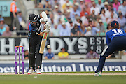 New Zealand Kane Williamson plays safe during the Royal London One Day International match between England and New Zealand at the Oval, London, United Kingdom on 12 June 2015. Photo by Phil Duncan.