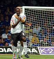 Photo: Kevin Poolman.<br />Luton Town v Leicester City. Coca Cola Championship.<br />05/08/2006. <br />Luton's Leon Barnett celebrates his goal with Rowan Vine.