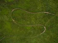 Aerial drone photo of singletrack mountain bike trail in  Marquette, Michigan.