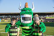 The mascots with the green devil during the Vanarama National League match between Forest Green Rovers and Braintree Town at the New Lawn, Forest Green, United Kingdom on 21 January 2017. Photo by Shane Healey.
