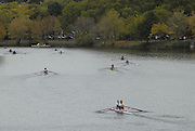 Boston, USA,  Women's Doubles racing towards the Eliot Bridge during the Head of the Charles, Race Charles River,  Cambridge,  Massachusetts. Saturday  20/10/2007  [Mandatory Credit Peter Spurrier/Intersport Images]..... , Rowing Course; Charles River. Boston. USA