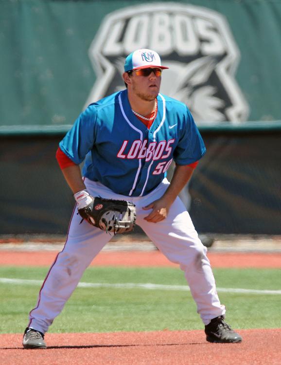 jt052017g/ sports/jim thompson/UNM's first baseman #50 Brandon Langan.   Saturday May. 20, 2017. (Jim Thompson/Albuquerque Journal)