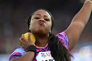 Michelle Carter (USA) places fourth in the women's shot put at 59-11¼ (18.27m) during the Weltklasse Zurich in an IAAF Diamond League meeting at Letzigrund Stadium in Zurich, Switzerland on Thursday, August 24, 2017.   (Jiro Mochizuki/Image of Sport)
