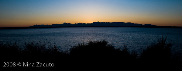 The Olympic Mountains at sunset in the Fall of 2008.