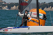 Glenn Ashby (AUS111), race nine of the A Class World championships regatta being sailed at Takapuna in Auckland. 16/2/2014
