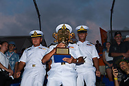 PATTAYA, THAILAND - DECEMBER 09: Royal Thai Navy with the King's Cup during the Royal Trophy presentation for the Pro Freestyle at the Thai Airways International Jet Ski World Cup 2018, Jomtien Beach, Pattaya, Thailand on December 09, 2018. <br /> .<br /> .<br /> .<br /> (Photo by: Naratip Golf Srisupab/SEALs Sports Images)<br /> .<br /> Any image use must include a mandatory credit line adjacent to the content which should read: Naratip Golf Srisupab/SEALs Sports Images