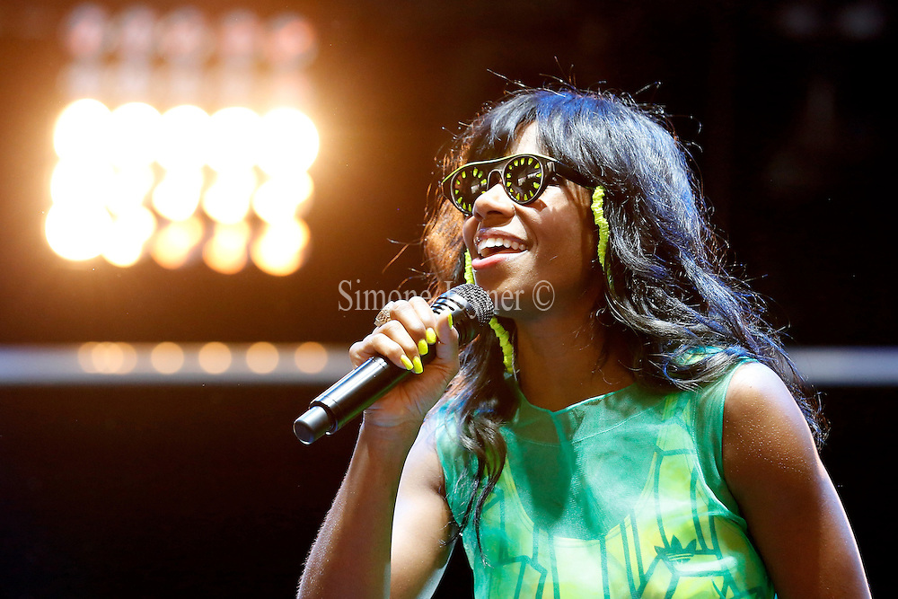 READING, ENGLAND - AUGUST 25:  Santigold performs live on the Radio 1 NME Stage on Day Two during the Reading Festival 2012 at Richfield Avenue on August 25, 2012 in Reading, England.  (Photo by Simone Joyner/Getty Images)