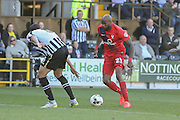 York City forward Emile Sinclair during the Sky Bet League 2 match between Notts County and York City at Meadow Lane, Nottingham, England on 26 September 2015. Photo by Simon Davies.