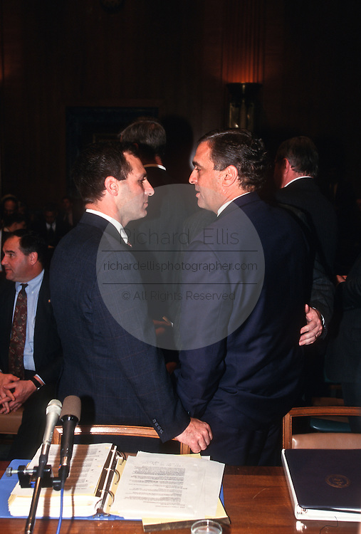 CIA Director George Tenet with FBI Director Louis Freeh in Congress in Washington, DC.
