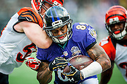 Baltimore Raven wide receiver Steve Smith Sr. breaks through the defense during the fourth quarter against the Cincinatti Bengals at M&M Bank Stadium on September 27, 2015 in Baltimore, Maryland.  The Bengals won the game 28-24. Photo by Pete Marovich/UPI