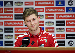 CARDIFF, WALES - Tuesday, November 10, 2015: Wales' Ben Davies during a press conference at the Cardiff City Stadium ahead of the International Friendly against the Netherlands. (Pic by David Rawcliffe/Propaganda)