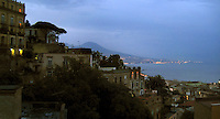 The view overlooking Naples to the Bay of Naples with Mt. Vesuvius in the distance.