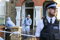 © Licensed to London News Pictures. 05/05/2020. London, UK. Forensic officers at a property in Dalmeny Road in Holloway, north London as police launch a <br /> murder investigation following the death of a pensioner. Police were called around 7:20pm on Monday, 4 May to reports of a man collapsed and suffering a head injury. Officers and London Ambulance Service attended. The 79-year-old man was pronounced dead at the scene and a 42-year-old man was arrested on suspicion of murder. Photo credit: Dinendra Haria/LNP