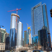 465 North Park residential tower under construction in Chicago, next to Loews Hotel to right.