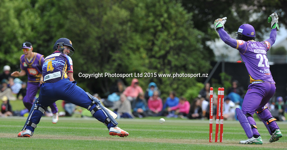 Otago Volts Neil Broom is bowled by Ronnie Hira in the Georgie Pie Super Smash Twenty20 cricket match between the Otago Volts v Canterbury Kings held at the University Oval, Dunedin. 29 November 2015.