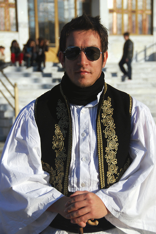 "A man dressed on January 1st as a ""tsolias"" (greek traditional costume) at Drymos village. Thessaly region, central Greece."