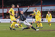 Dundee's James McPake just fails to get on the end of a cross  - Dundee v St Mirren, SPFL Premiership at <br /> Dens Park<br /> <br />  - &copy; David Young - www.davidyoungphoto.co.uk - email: davidyoungphoto@gmail.com