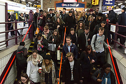 © Licensed to London News Pictures. xx/xx/2016. LONDON, UK.  Commuters at Clapham Junction station in London during the rush hour this morning. Southern Railway services have been reduced today following a two day all-out strike by RMT and Aslef trade union members because of a dispute about the role of conductors, which ended at midnight. Talks are now underway at the conciliation service Acas to try and resolve the dispute over driver-only trains ahead of another all-out strike on Friday.  Photo credit: Vickie Flores/LNP
