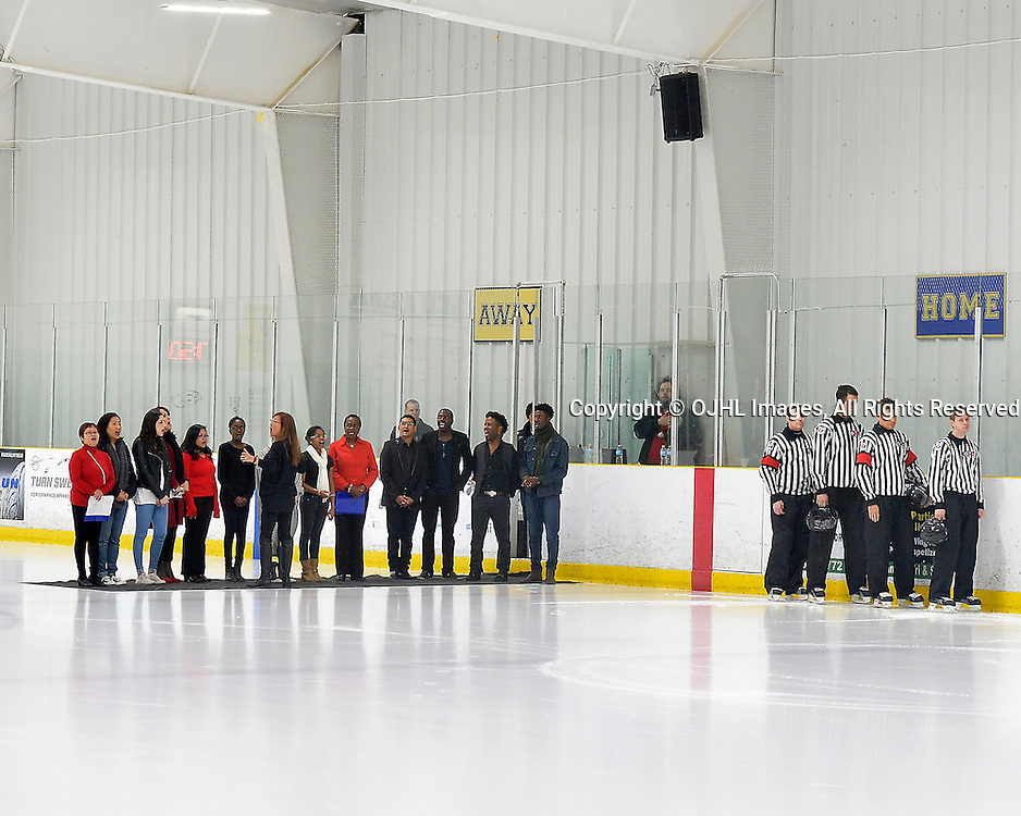 TORONTO, ON - Dec 20, 2014 : Ontario Junior Hockey League game action between Buffalo and Toronto Lakeshore. National Anthem.<br /> (Photo by Shawn Muir / OJHL Images)