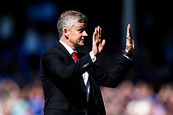 Manchester United manager Ole Gunnar Solskjaer holds his hands up in apology after his side's 4-0 defeat to Everton - Mandatory by-line: Robbie Stephenson/JMP - 21/04/2019 - FOOTBALL - Goodison Park - Liverpool, England - Everton v Manchester United - Premier League