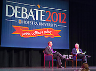 "Oct. 11, 2012 - Hempstead, New York, U.S. - L-R, ROBERT GIBBS, former White House Press Secretary and a longtime Advisor to Pres. Obama, and KARL ROVE, former Deputy Chief of Staff and Senior Advisor to Pres. G. W. Bush, have a Point/Counterpoint discussion at Hofstra University Debate 2012 event. This was part of ""Debate 2012 Pride Politics and Policy"" a series of events leading up to when Hofstra hosts the 2nd Presidential Debate between Obama and M. Romney, on October 16, 2012, in a Town Meeting format."