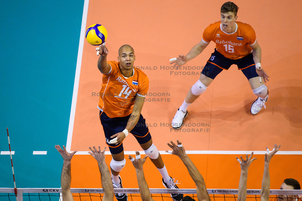 06-01-2020 NED: CEV Tokyo Volleyball European Qualification Men, Berlin<br /> Match Serbia vs. Netherlands 3-0 / Nimir Abdelaziz #14 of Netherlands