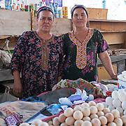 Local women selling eggs in the Dashoguz market, Turkmenistan
