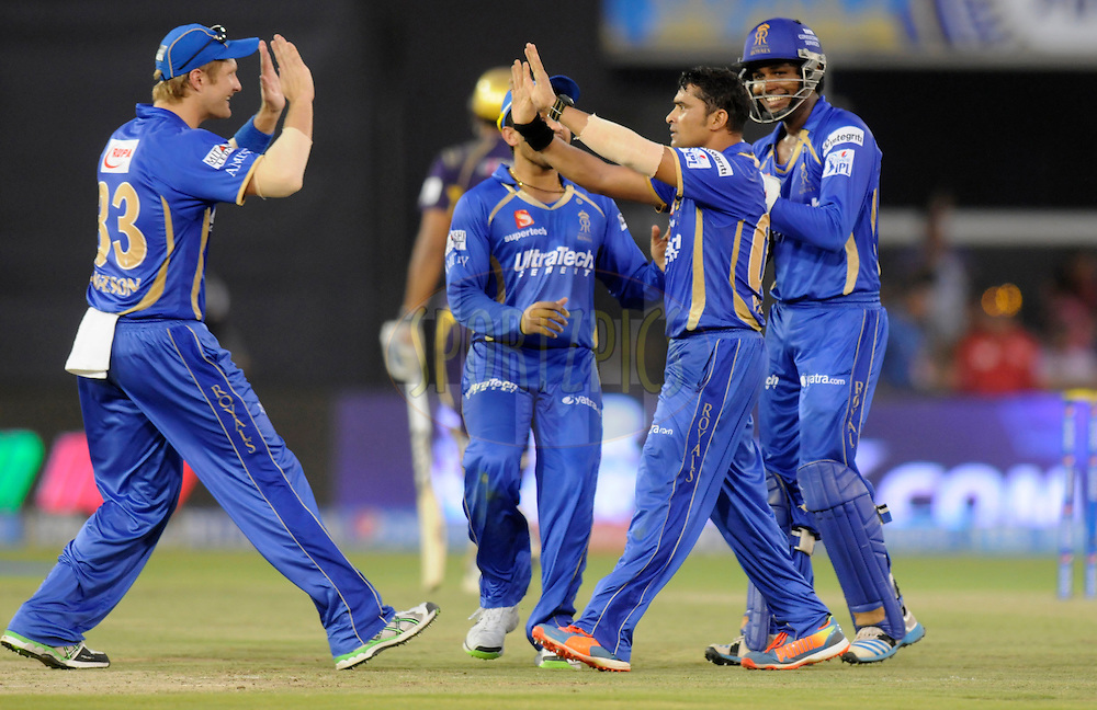 Pravin Tambe of the Rajatshan Royals celebrates the wicket of Yusuf Pathan of the Kolkata Knight Riders during match 25 of the Pepsi Indian Premier League Season 2014 between the Rajasthan Royals and the Kolkata Knight Riders held at the Sardar Patel Stadium, Ahmedabad, India on the 5th May  2014<br /> <br /> Photo by Pal Pillai / IPL / SPORTZPICS      <br /> <br /> <br /> <br /> Image use subject to terms and conditions which can be found here:  http://sportzpics.photoshelter.com/gallery/Pepsi-IPL-Image-terms-and-conditions/G00004VW1IVJ.gB0/C0000TScjhBM6ikg
