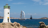 Rambler (USA 25555) takes over Y3K (GER 6060) during the Rolex Maxi Cup 72 2017 on the Costa Smeralda, Sardinia) organised by the YCCS (Yacht Club Costa Smeralda).