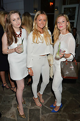 Left to right, PHOEBE NEWMAN, LILY LUDOVICI GRAY and ROSIE KEEFE at a reception hosted by Tiffany Watson in aid of The Eve Appeal held at The Phene, 9 Phene Street, London on 8th September 2015.